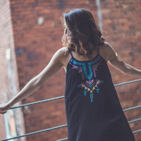 Embroidered Aztec Dress in Black