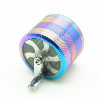 Rainbow Bliss Screw Thread Handle Crank Herb Grinder