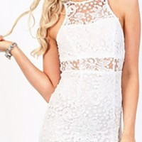 White Sleeveless Sheer Lace Cut Out Back Bodycon Mini Dress