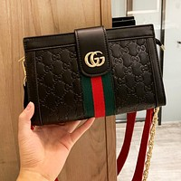 GUCCI Fashion Men Women Shopping Bag Leather Stripe Shoulder Bag Crossbody Satchel