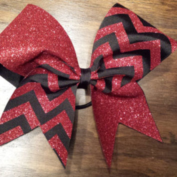 Red and black chevron cheer bow