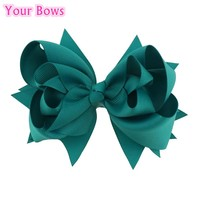 Your Bows 1PC 5inch Kids Hair Bows 3Layers Solid Jade Bows Hair Clips Boutique Ribbon Bows For Girls Hairpins Hair Accessories