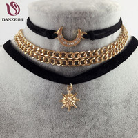 Gothic Handmade Black Leather Rope Chain Sailor Moon Women Choker Necklace Velvet Pendant Collier Femme Rhinestone Jewelry