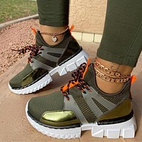 Brand New Casual Sneakers Fashion  Mixed Color Flat Platform Shoes Lace Up Sneakers