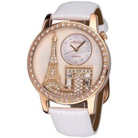 Luxury Tower Face Rhinestone White Leather Watch
