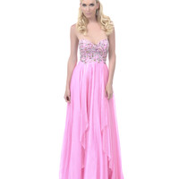 2013 Homecoming Dresses - Pink Jewel Beaded Long Strapless Homecoming Dress - Unique Vintage - Prom dresses, retro dresses, retro swimsuits.