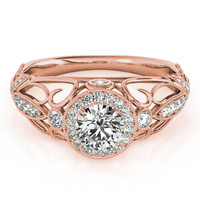 Engagement Ring -Halo Diamond Engagement Ring with Filigree in Rose Gold-ES1757RG