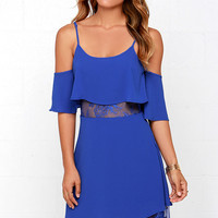 Neither Tier Nor There Blue Lace Dress