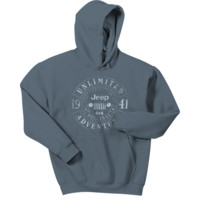 All Things Jeep - Jeep Banner Circle Men's Hoodie in Indigo Blue