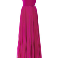 Magenta One Shoulder Gown With Pleated Skirt