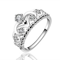 Fashion 925 Sterling Silver Jewelry Imperial Crown Luxury Elegant Party Ring Size 7