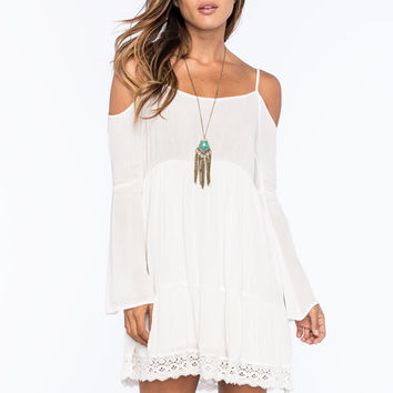 Chloe K Crochet Trim Cold Shoulder Womens Peasant Top White  In Sizes
