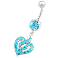 Signature Design Heart Dangle Aquamarine Crystal Belly Button Ring For Girls [Gauge: 14G - 1.6mm / Length: 10mm] 316L Surgical Steel & Crystal