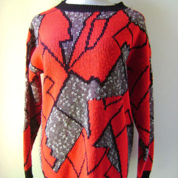 80s Abstract Red Black Sweater Vintage Pullover Mens Womens Top Size M Medium Retro Graphic Geometric Pattern 1980s Acrylic Hipster Blouse