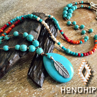 Native amaerican beaded feather necklace, boho hippie jewelry