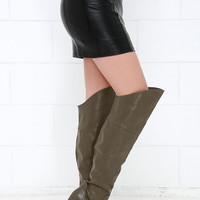 Wise Up Grey Over the Knee Boots