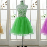 Custom 2014 White Lace High Neck Yellow Tulle Button A Line Lace Formal short Evening/Prom/Party/Bridesmaid/Homecoming/Cocktail Dress Gown