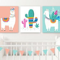 LLAMA Nursery Wall Decor, Llama Girl Bedroom Wall Art, Llama CANVAS or Prints Llama Cactus Girl Pictures, Llama Girl Artwork Set of 3 Decor