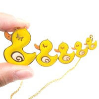 Handmade Yellow Rubber Ducky Family Shaped Animal Pendant Necklace   Limited Edition