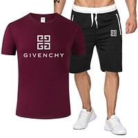 GIVENCHY Summer Fashionable Casual Print T-Shirt Top Shorts Set Two-Piece Sportswear Burgundy