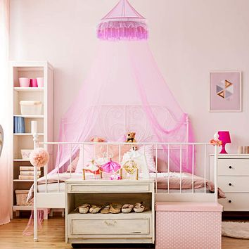 Goplus Princess Bed Canopy, Premium Mosquito Netting Dome for Baby, Kids, Girls with Elegant Ruffle Lace, Indoor Outdoor Castle Play Tent Baby Crib Netting (Pink)