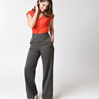 Banned 1940s Charcoal Grey High Waist Party On Stretch Pants