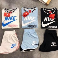 NIKE Women Men Pantsuit splicing letter printing fashion suit pullover Two piece Three Color