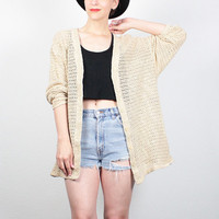 Vintage 80s Jacket Sheer MESH Shirt Open Weave Netting Jacket 1980s Tan Beige Beach Cover Up Blouse Boho Hipster Layering Top M L Large XL