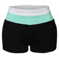 LE3NO Womens Fitted Active Colorblock Workout Yoga Shorts (CLEARANCE)