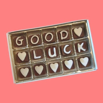 Good Luck Custom His Her Your Name Cubic Chocolate Letters Unusual Fun Retirement Gift for Friend Co Worker Made to Order by What Candy Says