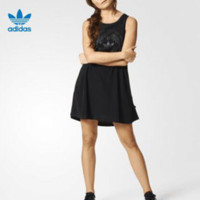 """Adidas"" Fashion Casual Pattern Print Sleeveless Loose Mini Dress"