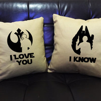 I love you I know Pillow set, Star Wars Pillow Set,love pillow cover, Luke and Leia, Star Wars Wedding, Star Wars Gift, Star Wars Decor