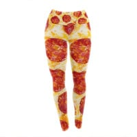 "KESS Original ""Pizza My Heart"" Pepperoni Cheese Yoga Leggings"