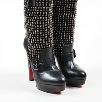 DCCK2 Black Christian Louboutin Suede Leather Studded Marisa Boots