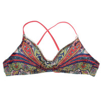 Lucky Brand Womens Paisley Lace-Trim Swim Top Separates