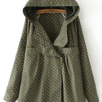 Green Star Print Hooded Trench Coat