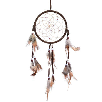 Boho Handmade DreamCatcher with Feathers Coffee Color - Free Shipping