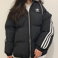 ADIDAS autumn and winter new men and women wild high quality zipper hooded down cotton padded clothes Black