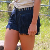 Midnight Showdown Navy Suede Shorts With Fringe Pockets & Printed Waistband