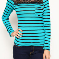 Hampton Teal Stripe Top With Lace