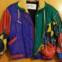 Vintage 80's Women's Track Jogging Suit Windbreaker Set XS Purple Green Red Gold