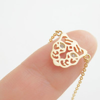 Tiger necklace in gold, Animal necklace