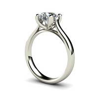 Solitaire Moissanite Engagement Ring 14K White Yellow or Rose Gold Conflict Free Custom Bridal Jewelry
