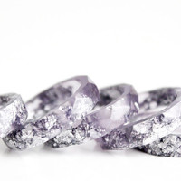 smoky purple and silver size 8 thin multifaceted eco resin ring