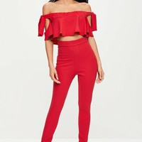 Missguided - Red Tie Sleeve Bardot Top Pants Set
