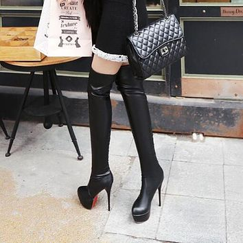 Women  Autumn Over Knee-High Boots Platform Thin Ultra High Heel Long Boot Shoes