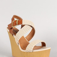 Qupid Leatherette Woven Strappy Faux Wood Wedge Platform Color: Stone, Size: 7.5
