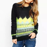 Block Printed Long-Sleeve Knitted Sweater