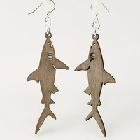 Great White Sharks - Laser Cut Wood Earrings