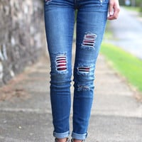 Dex Jeans: Madison Rips with Plaid Repair {Vintage Wash}